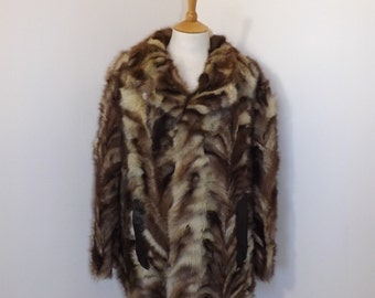 Vintage real silver arctic polar frosted fox fur patchwork ladies coat jacket cream white brown grey size L UK 16 18