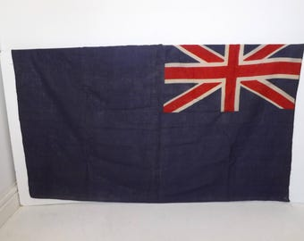 Vintage blue ensign British Royal Naval Navy flag banner fabric blue red white militaria military collectable