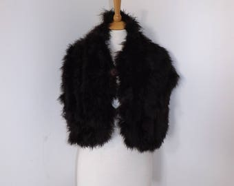 Vintage 1940s original real black brown feather marabou stole wrap scarf