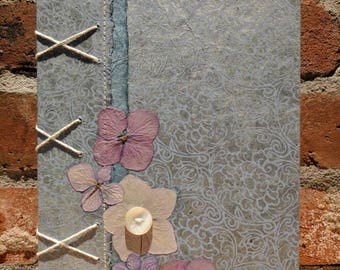 Button and blooms - Coptic bound handcrafted lined journal