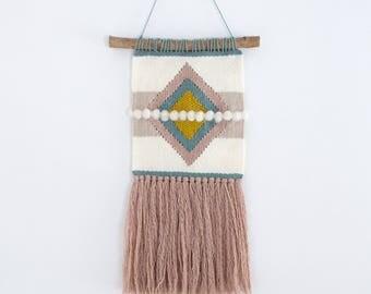 Woven Wall Hanging / Modern Diamond Design / Yellow, blue and pink / Driftwood