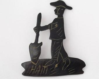 Vintage 1950s Haiti Souvenir Pin - Hand Etched Horn  - Tourist Novelty