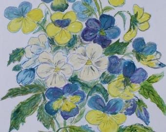 Watercolor painting of Violas