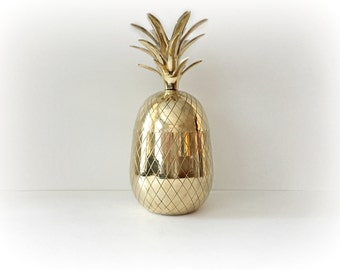 Vintage Large Brass Pineapple Container Candleholder Ice bucket