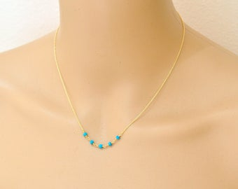 Tiny Turquoise Necklace, Turquoise beads delicate gold necklace - Dainty simple everyday jewelry. December Birthstone Jewelry,  gift for her