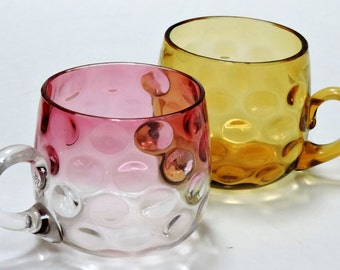 Vintage Cup,Glass Cup,Pink and Brown,Drinking Cup,Coffee Cup