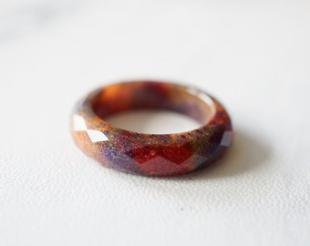 Orange Purple and Red Resin Ring