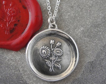 Daisy Wax Seal Necklace - antique French wax seal charm jewelry Language of Flowers - Beauty Innocence by RQP Studio