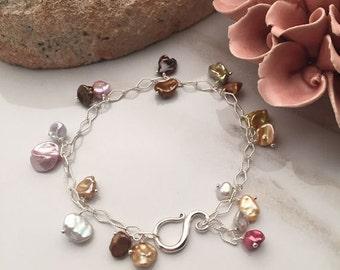 Multi-color Keishi Pearls - Freshwater Pearls - Sterling Silver Bracelet - 3142