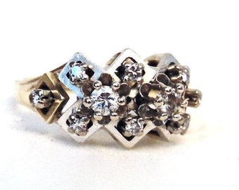 14K Vintage Diamond 1.00 Carat Cluster Engagement Ring, Two Tone Gold, Statement Ring