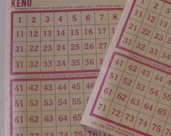 Rare Mapes Hotel Casino Reno Unmarked Keno Game Ticket Obsolete Gaming Collectible