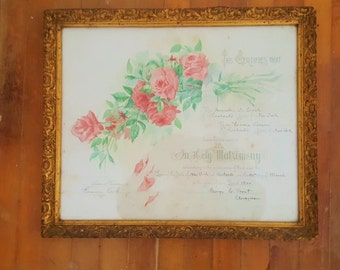 Antique 1900 Marriage Certificate Framed Antique Matrimony Certificate Ornate Floral Wedding Certificate Gold Framed Wedding Annoucement