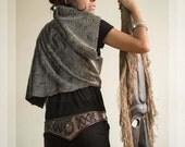 Moon Sheperd 001⎜Brown leather belt with lodolite quartz⎜Dystopia tribal belt⎜Boho punk⎜Viking belt⎜Burning man festival belt