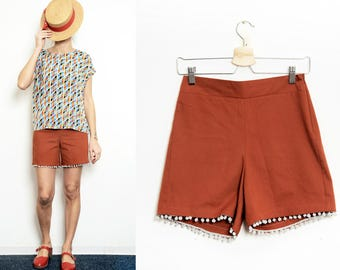 Handmade High Waist Shorts vintage orange cotton Small, Medium, Large [Moon shorts/ Rusty orange]