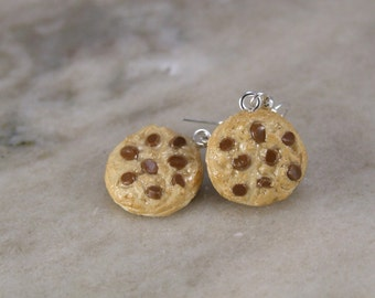 Miniature Chocolate Chip Cookie Polymer Clay Earrings