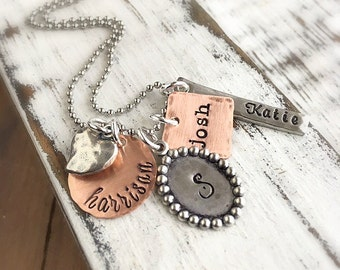 Mother Necklace. Personalized Jewelry . Name Charms . Family Necklace . Grandmother Necklace . Names Necklace . Engraved Names