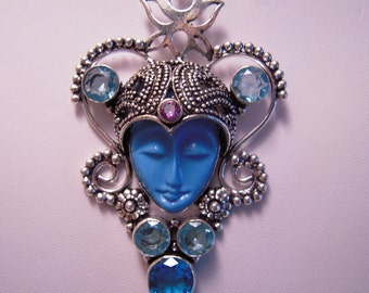 A Beautiful Blue Jasper Goddess From France...Surrounded By A London Blue Topaz/Blue Quartz...Set In 925 Sterling Silver Palladium...ON SALE