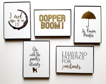 5 Gold Foil & Framed Prints of Your Choice