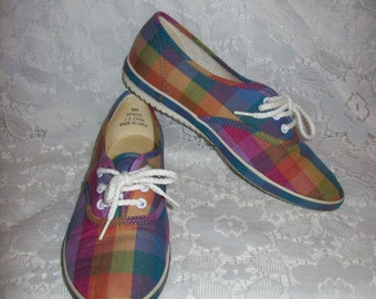 Vintage 1970s Ladies Plaid Canvas Tennis Shoes Grasshoppers by KEDS size 5 Only 11 USD