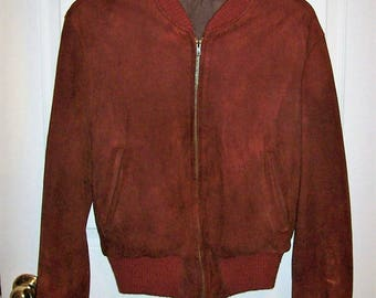 Vintage 1940s Mens Brick Red Suede Leather Jacket by Admiral Byrd Sports Apparel Medium Only 95 USD