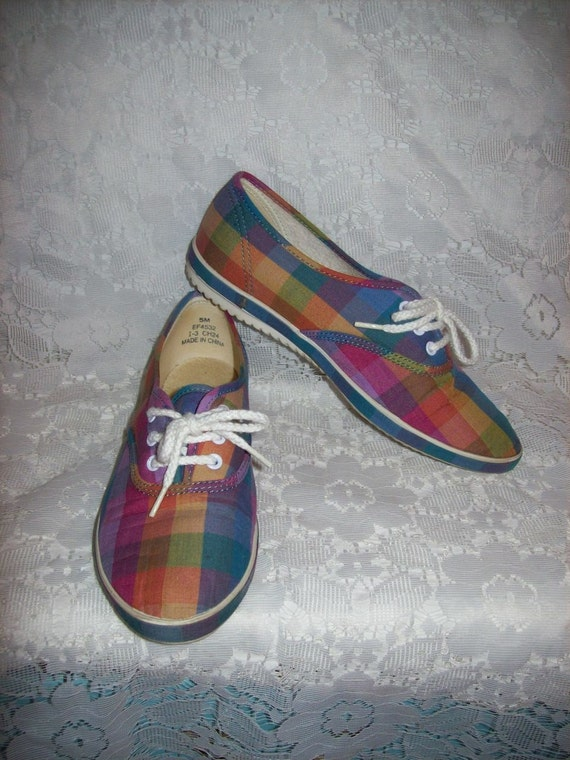 Vintage 1970s Ladies Plaid Canvas Tennis Shoes Grasshoppers by