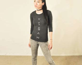Vegan Top :  Charcoal Long Sleeve Crew Neck Top