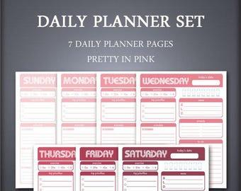 Printable Daily Planner Set - Weekly Planner Set - Pretty in Pink - Printable Planner Set