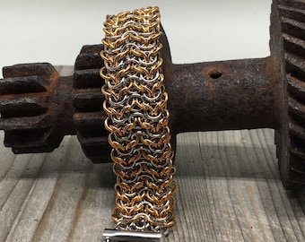 Stainless Steel and Bronze Elfweave Bracelet - Ready To Ship