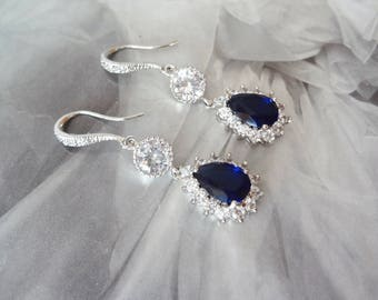 Blue Sapphire earrings, Blue sapphire Cubic Zirconia earrings, Something Blue, Brides earrings, September Birthstone, Elegant jewelry, KATE