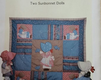 Vintage SUNBONNET SUE PATTERN For Applique Quilt and 2 Dolls  from Elinor Peace Bailey 1985