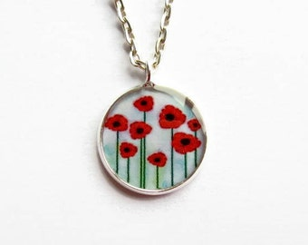 Red Poppy Necklace, Poppies Pendant, Flower Jewelry, Gift for Her, Mothers Day, Everyday Necklace, Small Pendant