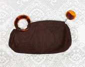 Vintage Rare 1940s Brown Corde Purse with Tortoiseshell Lucite Handle and Zipper Pull