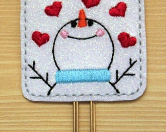 Snowman with hearts square glitter vinyl planner paperclip, bookmark, Snowman on white glitter vinyl, Planner paperclip accessories