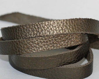 15mm  Leather  Flat cord , Metallic Army Green Genuine Leather Strap, Olive Green Cowhide