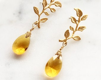 Leaves Earrings, Honey Yellow Gold Wire Wrapped Birthstone, Dangle Leaf Earrings, Wedding Jewellery, Bridal Earrings, Bridesmaid Gift