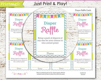Grey Chevron Diaper Raffle Printable Baby Shower Game - Instant Download - Diaper Raffle - Unisex Baby Shower - Gender Neutral Baby Shower