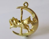 9ct Gold Cow Jumped Over the Moon Moving Charm or Pendant