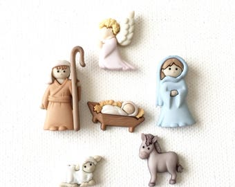 Nativity Magnets, Christmas Nativity Set, Baby Jesus, Mary, Joseph, Refrigerator Magnets