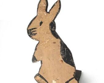 Antique Wood Bunny Door Stop, Primitive Folk Art Rabbit Figure Folk Art, American Folk Art sculpture, Art Brut, one-of-a-kind, Outsider Art