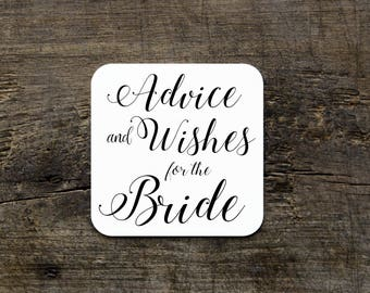 Two Sided Wedding Coasters, Advice and Wishes Coasters, Disposable Drink Coasters, Custom Paper Coasters, Bridal Shower Advice Favors