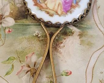 Vintage  Mirror with Porcelain Fragonard Scene