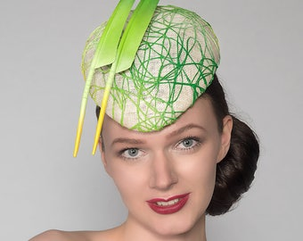 "Emerald Lime Mint Green Yellow Headpiece ""Emma"" Graffiti Beret Hat for the Races Royal Ascot Derby Hatinator Bright"
