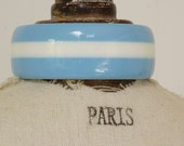 STRIPED BANGLE BLUE - Striped bangle blue and white - soft blue - summer cloud blue - and white vintage lucite striped bangle