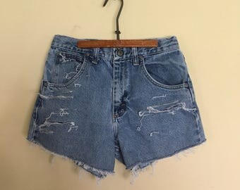 Girls Shorts, Distressed Children sz 14 Wrangler Shorts, Vintage HIGH WAISTED denim shorts, destroyed denim shorts, Wrangler Girl Shorts 14