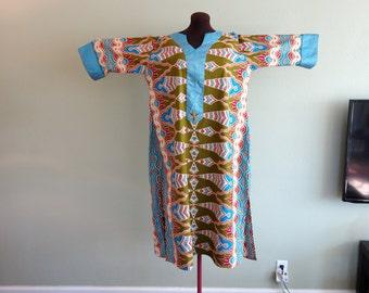 Vintage PSYCHEDELIC Dashiki Voodoo Witch Doctor Burning Man Cotton Caftan Muumuu Batwing Sleeve Dress Raggae Tall Black Lives Matter Africa