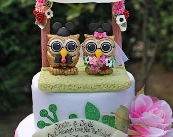 Wedding owl cake topper, custom love bird cake topper, wedding chuppah canopy flower arch, GLITTER cake topper, glitter wedding