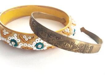Pair Of Vintage Travel Souvenir Bracelets One From Thailand And One From India Boho Style Bangle And Copper Cuff BEAUTIFUL Pieces!!