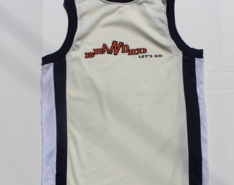 Vintage Tank Top- Retro Sports - Contrast edge - white navy - sleeveless Vest  -Mens -Sport -Workout Athletic -Large 40 chest-high collar