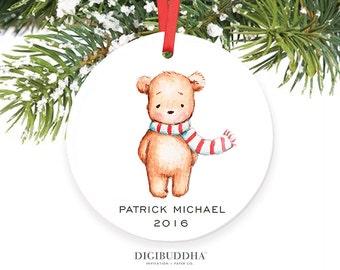 Teddy Bear Ornament Baby's First Christmas Ornament New Baby Ornament Boy Baby Christmas Ornament Personalized Baby Ornament Newborn Baby