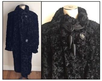 Vintage 1930s Black Lustra Kurl Mohair Faux Persian Lamb Coat 12 14 16
